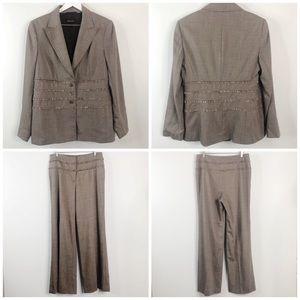 Escada Wool Silk Blend Fringe Detail Pants Suit